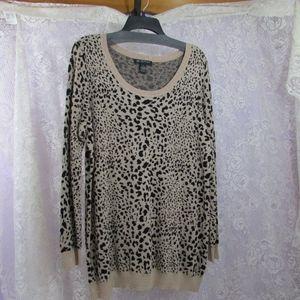 INC Womens Animal Print Metallic Sweater 1X